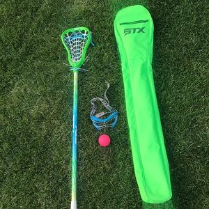 GIRLS LACROSSE STICK, BALL, GOGGLES, CASE